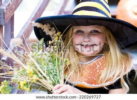 girl in fairy costume on holiday halloween - stock photo