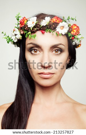 Girl in flower crown - stock photo