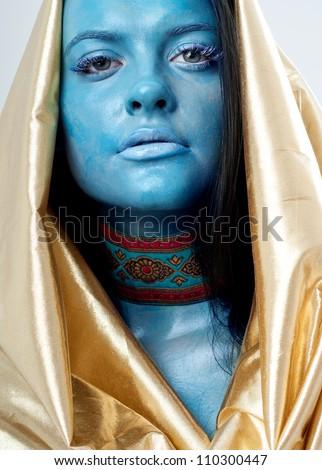 girl in Grimm. Blue skin - stock photo