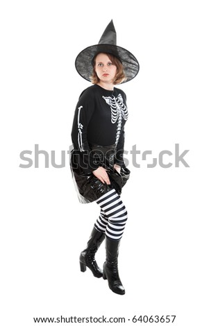 Girl in Halloween witch - stock photo