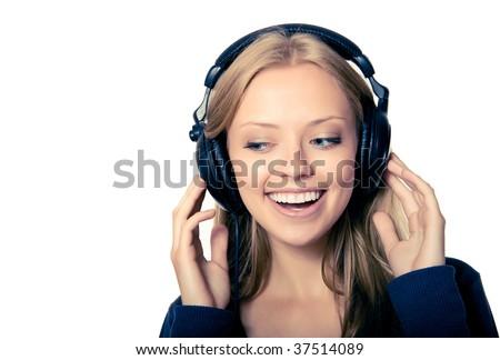 girl in headphones listening music - stock photo