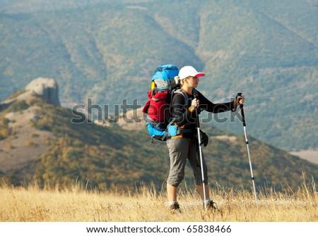 Girl  in hike - stock photo