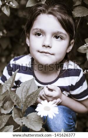 Girl in park . portrait. - stock photo
