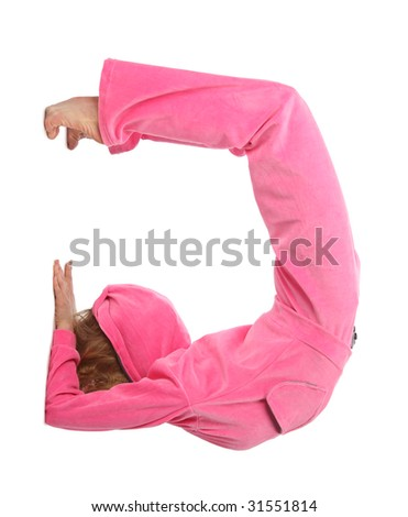 Girl in pink sport clothes represents  letter G - stock photo
