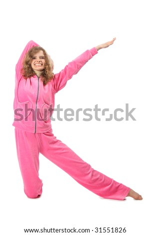 Girl in pink sport clothes represents  letter K - stock photo