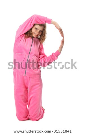 Girl in pink sport clothes represents  letter P - stock photo