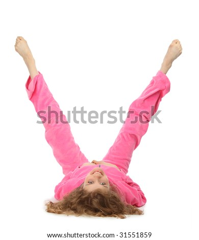 Girl in pink sport clothes represents  letter V - stock photo