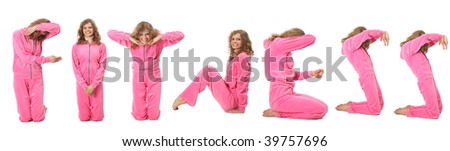 Girl in pink sport clothes represents word FITNESS - stock photo