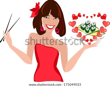 Girl in red dress and sushi - stock photo