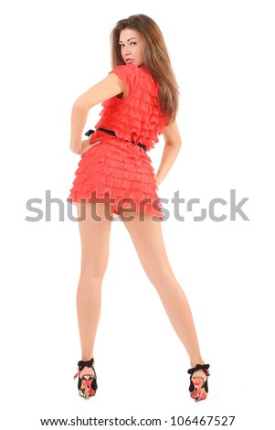 girl in red dress isolated on white - stock photo