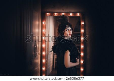 Girl in retro style. Fashion toning  - stock photo