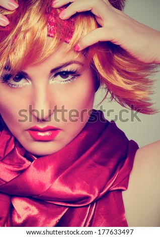 girl in retro style looking into the camera - stock photo