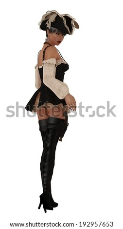 Girl in sexy pirate costume complete with hat thigh high boots and holstered flintlock pistol from rear looking backwards - stock photo
