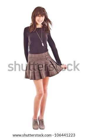 Girl in skirt isolated on white background - stock photo