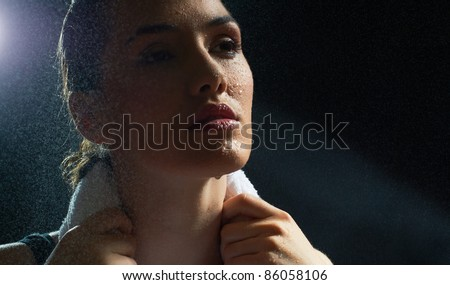 girl in sport on the night - stock photo