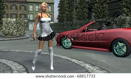 girl in summer dress on the road near red car - stock photo
