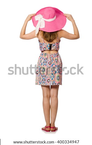 Girl in summer light dress and hat isolated on white - stock photo