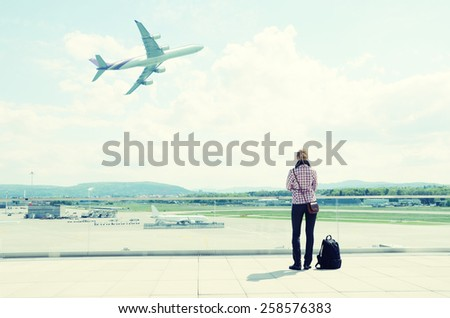 Girl in the airport - stock photo