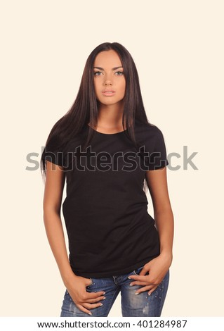 girl in the black shirt isolated over white background - stock photo