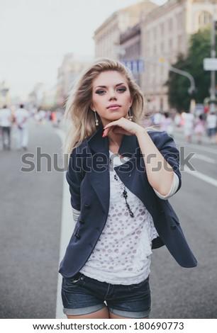 Girl in the city - stock photo