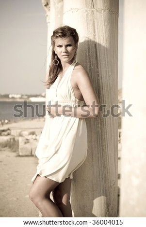 Girl in the Greek style - stock photo