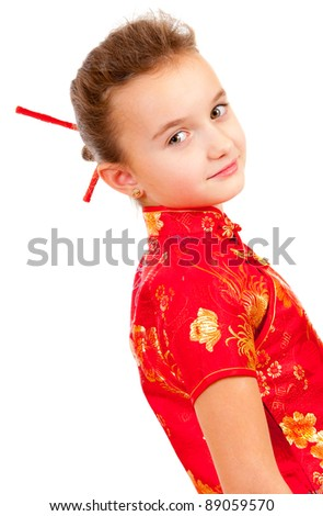 Girl in the Japanese style isolated over white background - stock photo