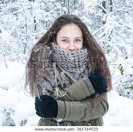 Girl in the park.Winter - stock photo