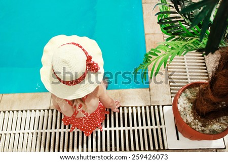 girl in the pool - stock photo