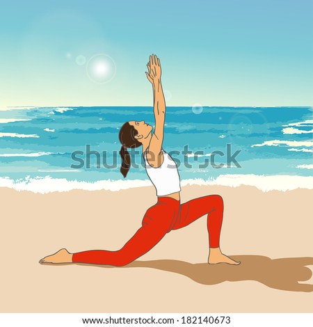 Girl in yoga's asana on the beach. Yoga illustration. Woman makes exercises on a sea background. Yoga on the beach. Dawning. - stock photo