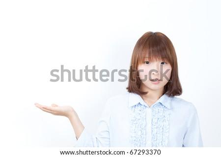 girl introducing something - stock photo