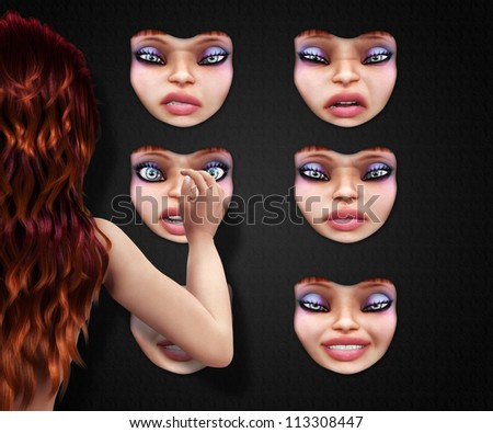 Girl is choosing a mask of herself, different facial expressions. - stock photo