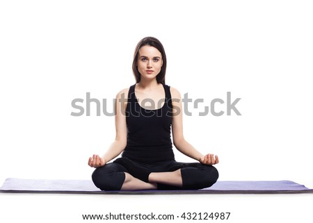 Girl is engaged in yoga on a white background, concept of healthy lifestyle, healthy eating and sport,  - stock photo