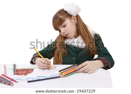 Girl is painting her family in bright colours. School girl is  drawing  in pencil. Isolated over white background. - stock photo