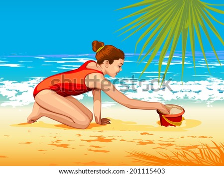 girl is sculping sand  - stock photo