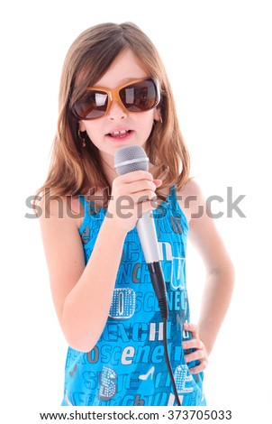 Girl is singing a song. Isolated on white - stock photo