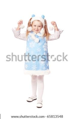 girl isolated on white - stock photo
