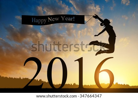 Girl jumps to the New Year 2016 at sunset - stock photo