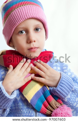 Girl just shows on the throat - stock photo