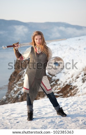 Girl knight - stock photo