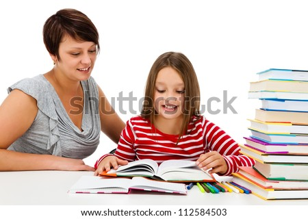 Girl learning isolated on white background - stock photo