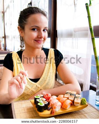 Girl Lifestyle Japanese Cuisine  - stock photo