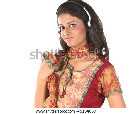 girl listening music with head phones - stock photo