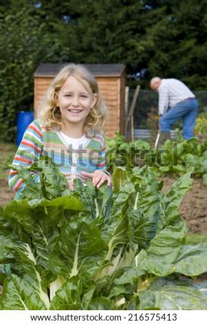 Girl looking at vegetables in garden - stock photo