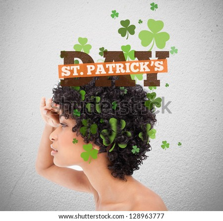 Girl looking forward to st patricks day - stock photo