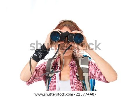 girl looking through binoculars over white background - stock photo