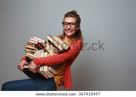 Girl love to read and study - stock photo