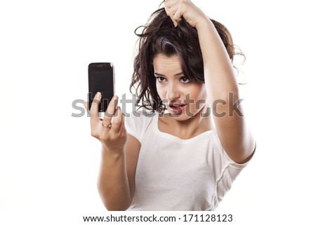 girl make a selfies on white background - stock photo
