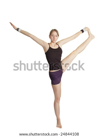 girl makes gymnastic exercise - stock photo