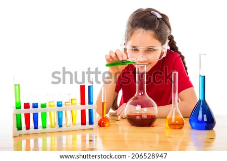 Girl making chemical experiments, isolated on white - stock photo