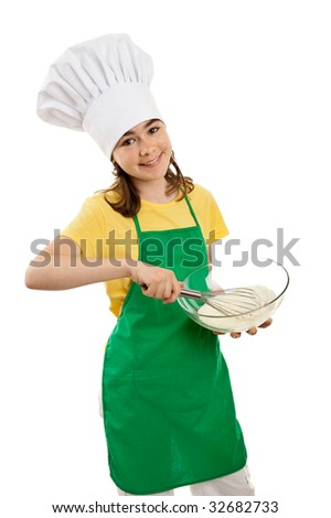 Girl mixing dough isolated on white background - stock photo